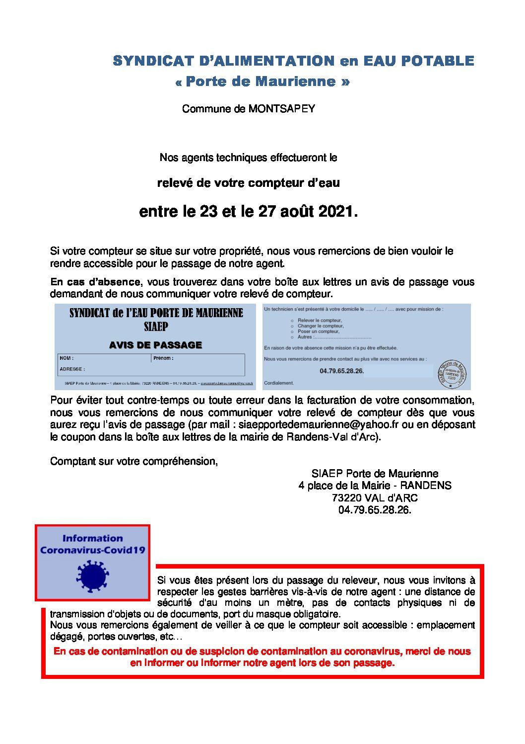 Image accueil de la page Relevé des compteurs d'eau entre le 23 et 27 août du site Montsapey
