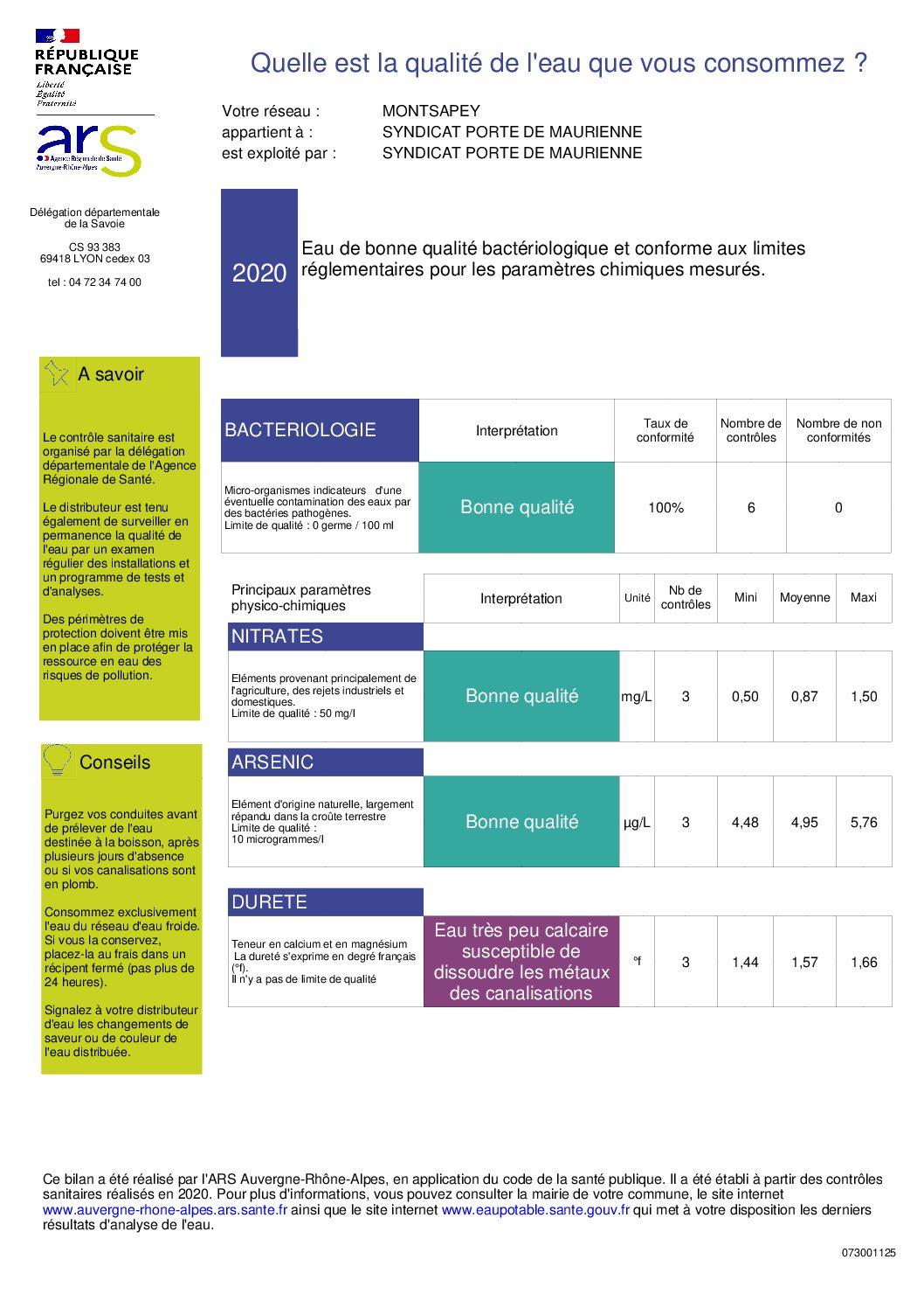 Image accueil de la page Analyse annuelle de l'eau potable distribuée par le SIAEP du site Montsapey